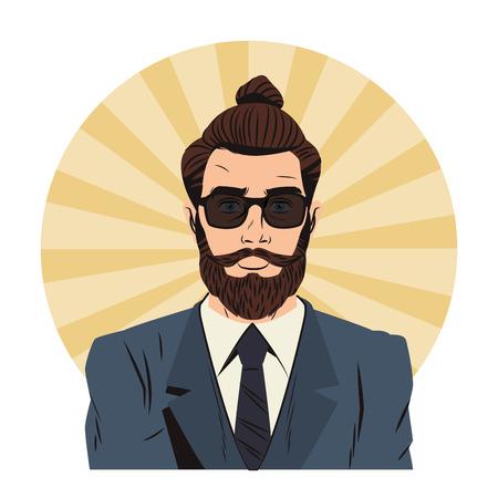 Homme hipster avec des lunettes de soleil et des cheveux longs cartoon pop art sur icône ronde rayée vector illustration graphic design Vecteurs