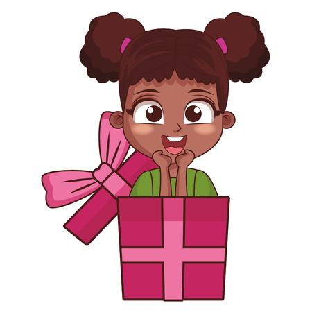 Girl inside giftbox happy birthday cartoon vector illustration graphic design