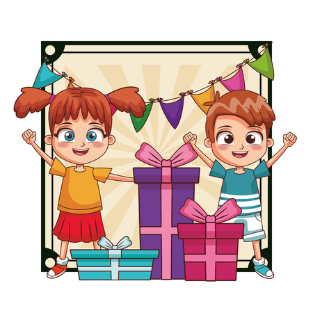 Kids birthday party with gifts over pennants frame scenery vector illustration graphic design