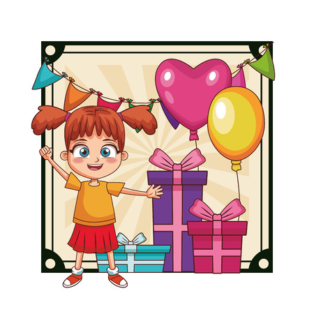 Girl birthday party with gifts and balloons over pennants frame scenery vector illustration graphic design Stockfoto - 110680383