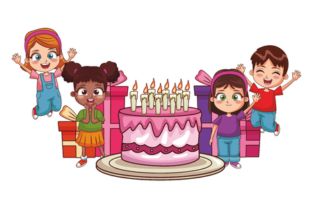 Kids birthday party with cake and gifts cartoon vector illustration graphic design