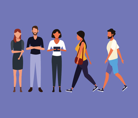 Set of people walking avatar collection vector illustration graphic design