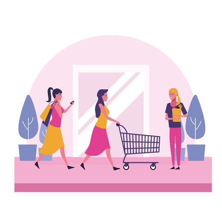 Customers shopping clothes at mall scenery vector illustration graphic design