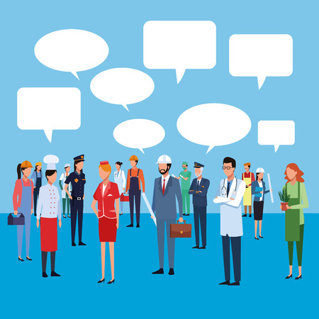 People workers characters talking over blue background vector illustration graphic design