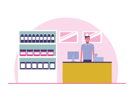 Supermarket cashier working cartoon vector illustration graphic design