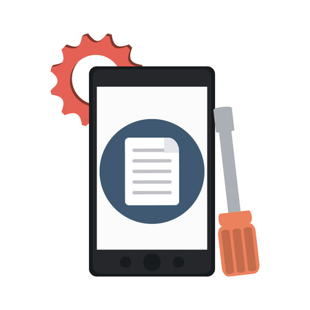 Smartphone with tools and task vector illustration graphic design