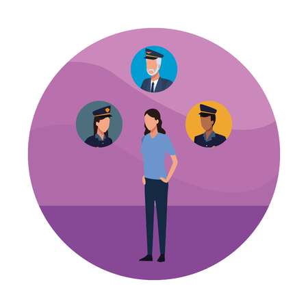 Woman and police offices faces round icons vector illustration graphic design