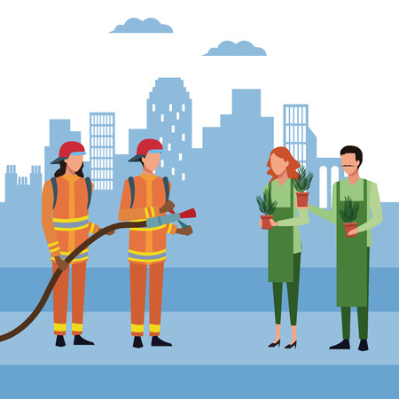 Firefighters with firehose and gardeners at city vector illustration graphic design Illustration