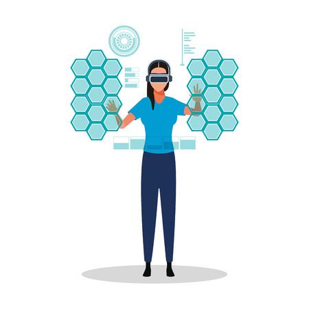 Woman using virtual reality technology glasses vector illustration graphic design Ilustração
