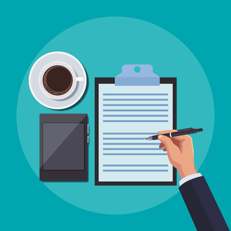 Office work and document elements symbols vector illustration graphic design