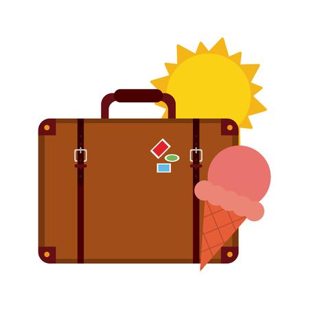 Travel suitcase with ice cream under sun symbols vector illustration graphic design