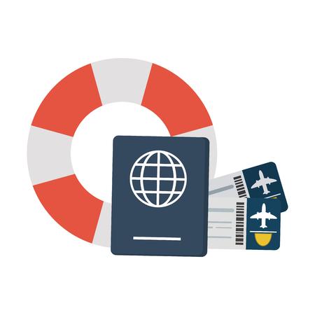 Travel passport and flight tickets and lifesaver symbols vector illustration graphic design