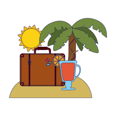 Travel suitcase and cocktail on beach symbols vector illustration graphic design