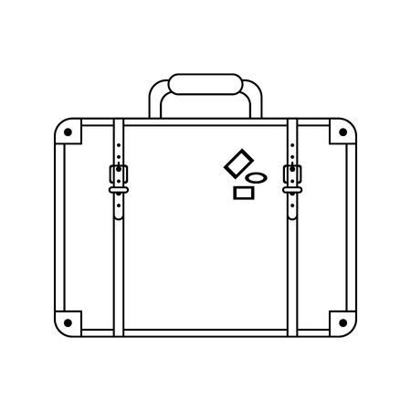 Travel leather vintage suitcase symbols vector illustration graphic design