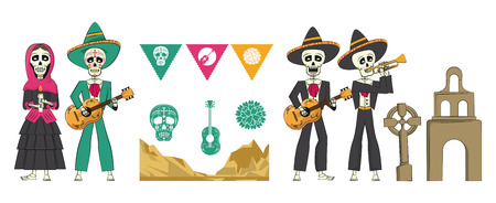 set Day of the Dead banner cartoons vector illustration graphic design