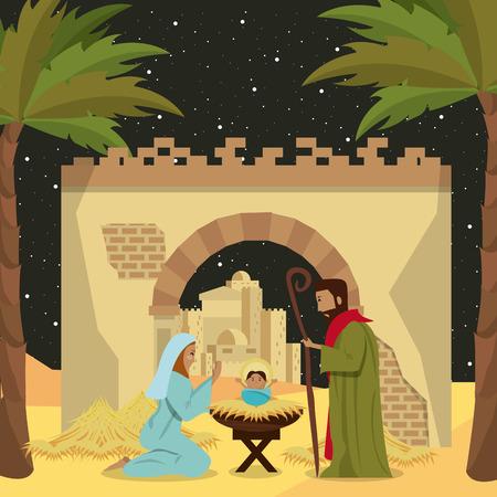 Pesebre navideño cristiano tradicional del niño Jesús ilustración vectorial diseño gráfico Ilustración de vector