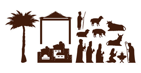 set Traditional Christian Christmas Nativity Scene of baby Jesus vector illustration graphic design