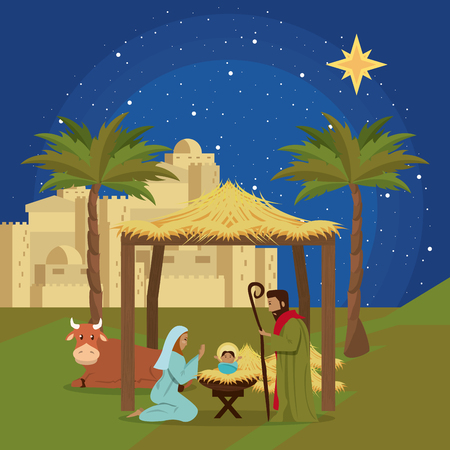 Traditional Christian Christmas Nativity Scene of baby Jesus vector illustration graphic design Vectores