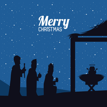 Traditional Christian Christmas Nativity Scene of baby Jesus greeting card vector illustration graphic design