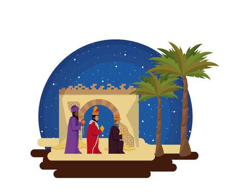 Traditional Christian Christmas Nativity Scene of three wise men vector illustration graphic design