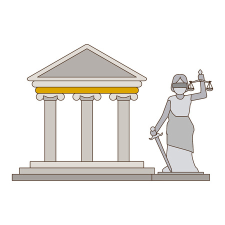 Justice and law building and lady statue vector illustration graphic design