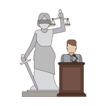 Prisionero en el podio y la estatua de la justicia de la señora diseño gráfico del ejemplo del vector