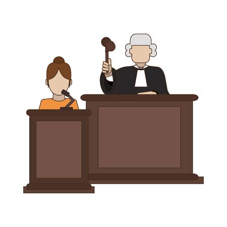 Judge and witness on podium vector illustration graphic design Illustration