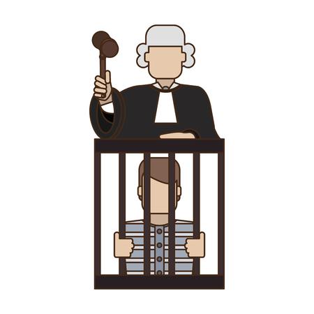 Juge sur prisonnier en prison vector illustration graphic design