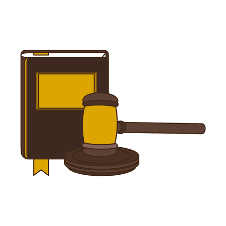 Justice and law gavel and constitution book vector illustration graphic design