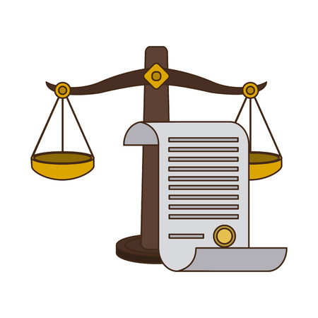 Justice and law balance and constitution sheet vector illustration graphic design