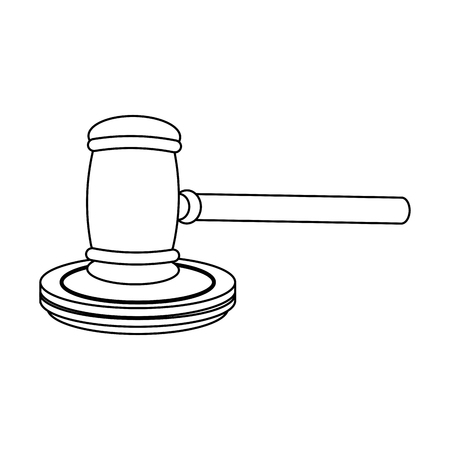 Justice and law gavel symbol vector illustration graphic design
