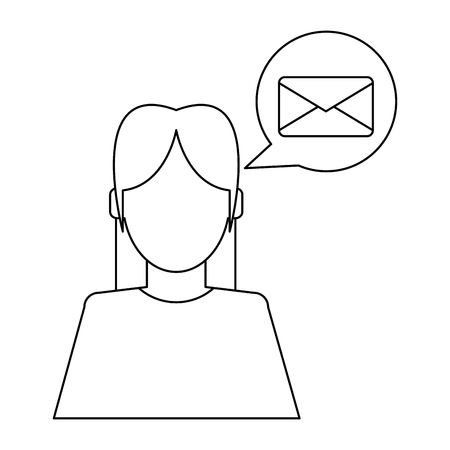 Woman talking about email avatar vector illustration graphic design