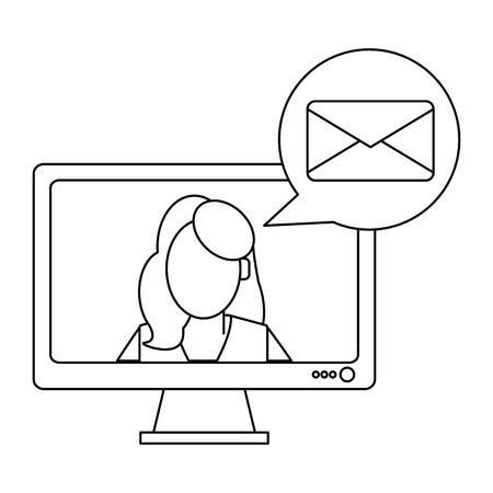 Businesswoman sending email on computer vector illustration graphic design