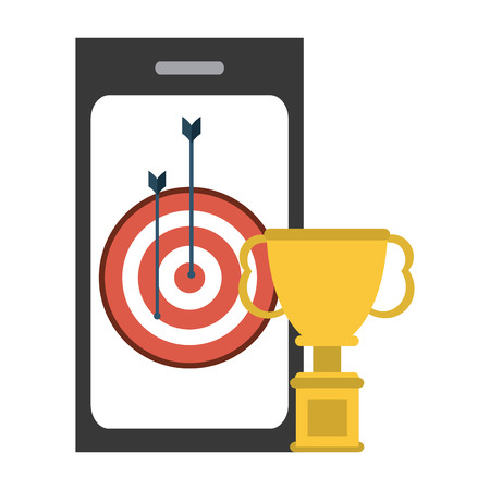 Smartphone and target dartboard with trophy cup vector illustration graphic design