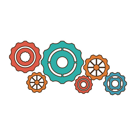 Gears machinery pieces symbol vector illustration graphic design