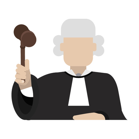 Judge with gavel avatar profile vector illustration graphic design Illusztráció