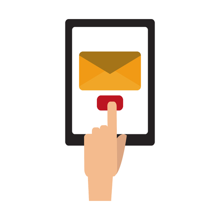 Hand sending email from tablet vector illustration graphic design Çizim