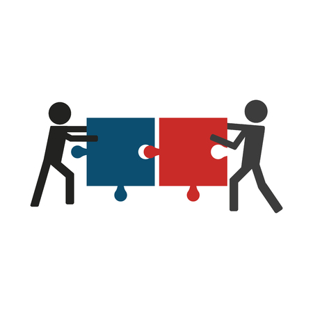 Men pulling jigsaw pictogram isolated vector illustration graphic design Illustration