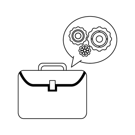 Briefcase and gears bubble symbol vector illustration graphic design