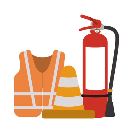 Construction vest and traffic cone with extinguisher vector illustration graphic design