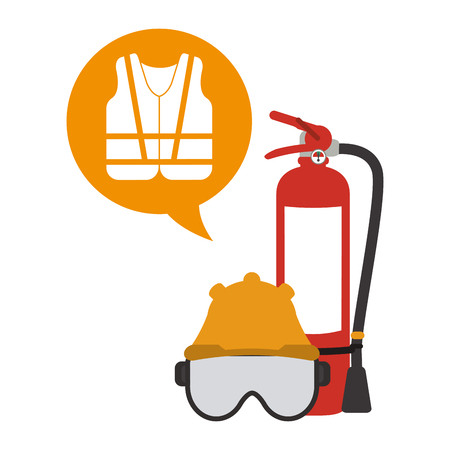 Extinguisher mask and helmet with vest vector illustration graphic design