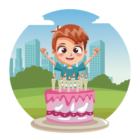 Boy birthday party with cake cartoon over cityscape round icon vector illustration graphic design