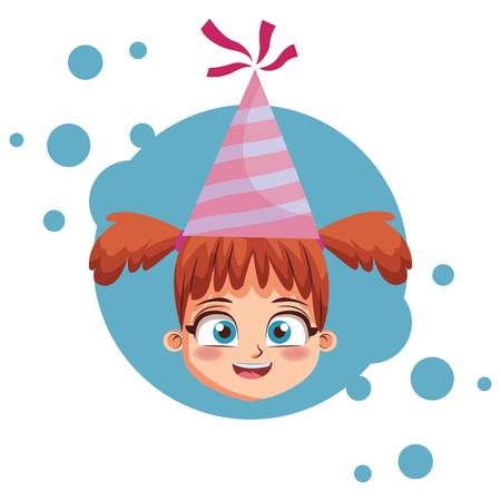 Girl with birthday hat cartoon  over blue grunge background vector illustration graphic design Stock Illustratie