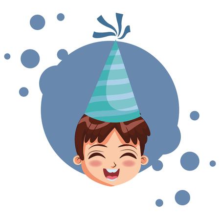 Boy with birthday hat cartoon  over blue grunge background vector illustration graphic design Stock Illustratie