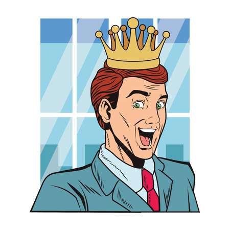 pop art surprised man face with crown over window vector illustration graphic design