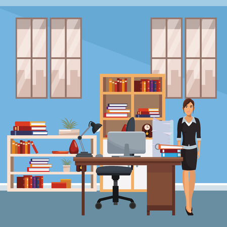 business woman working inside office vector illustration graphic design
