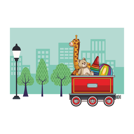 Train wagon with toys cartoon over cityscape scenery vector illustration graphic design