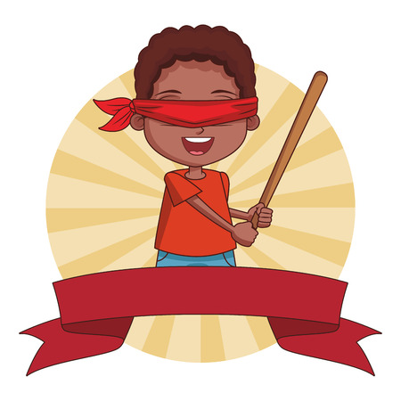 Boy blindfolded with bat cartoon round striped icon with ribbon banner vector illustration graphic design