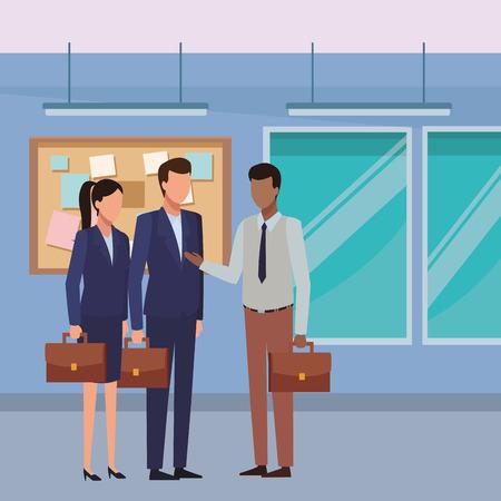 Business teamwork working inside office avatar vector illustration graphic design