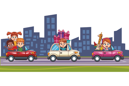 Kids driving cars with gifts at city cartoons vector illustration graphic design 向量圖像